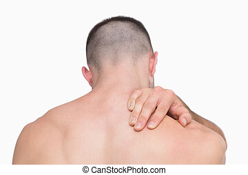 dor, pescoço, shirtless, vista, parte traseira, homem