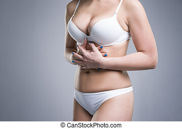 dor, roupa interior, mulher, abdominal, branca