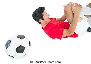 dor, shouting, futebol, baixo, jogador, mentindo