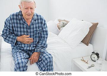 dor, sofrimento, barriga, homem, idoso
