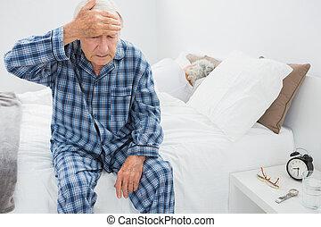 dor, sofrimento, cabeça, homem, idoso