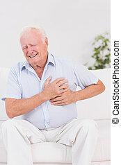 dor, sofrimento, coração, homem, envelhecido