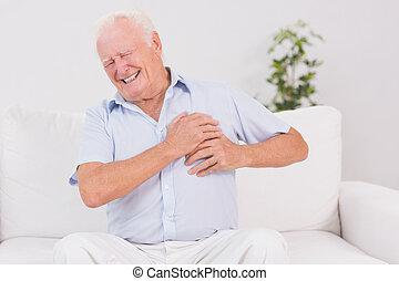 dor, sofrimento, coração, homem velho