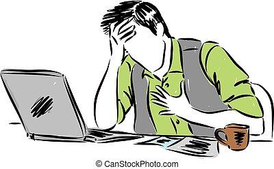 dor, trabalhando, ilustração, vetorial, frente, computador, homem