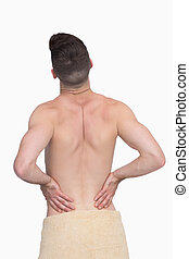 dor, vista, shirtless, costas, homem, parte traseira