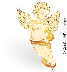 dorado, ángel, con, música, lira