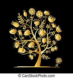 dorado, árbol, con, flores, para, su, diseño