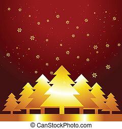 dorado, árbol de navidad
