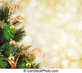 dorado, árbol de navidad, plano de fondo