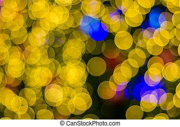 dorado, árbol,  Defocused, navidad,  ligths