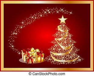 dorado, árbol, ilustración, plano de fondo, navidad, rojo