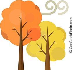 dorado, árboles de otoño, plano, ilustración, aislado, blanco, fondo.