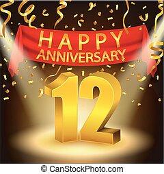 dorado, 12, aniversario, happhappy, confeti, proyector,...