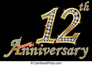 dorado, 12, aniversario, ilustración, señal, celebrar,...