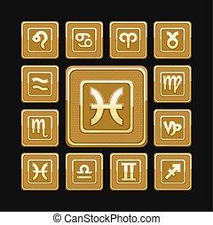 dorado, 12, iconos, conjunto, señales, zodíaco