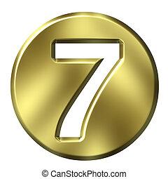 dorado, 3d, número 7, encuadrado