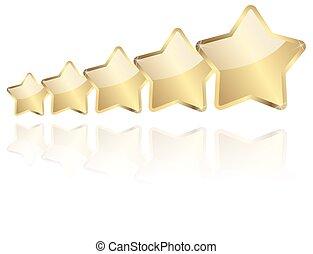 dorado, 5, reflexión, estrellas, fila