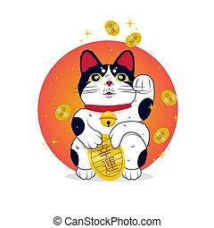 dorado, afortunado, neko., maneki, ilustración, vector, monedas., color, japón, rojo, caricatura, gato, sol, plano
