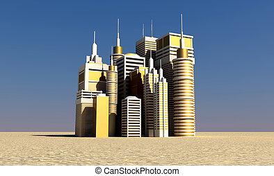 dorado, afuera, levantamiento, desierto, ciudad