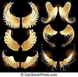 dorado, alas, de, ángeles