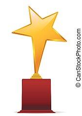 dorado amarillo, estrella, premio, en, rojo, base., vector, ilustración