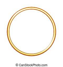 dorado, anillo metal, aislado, blanco, fondo.
