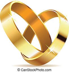dorado, anillos, boda