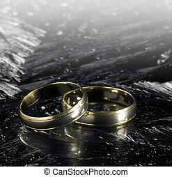 dorado, anillos, dos, hielo, superficie, boda