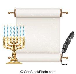 dorado, antiguo, pluma, judío, menorah, negro, blanco, ...