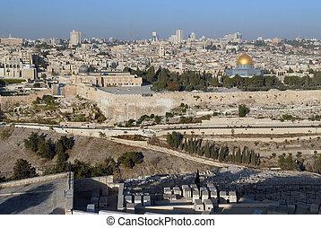 dorado, antiguo, viejo, israel., ciudad, encima, mezquita,...
