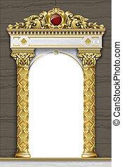 dorado, arcada, terraza, palacio, entrada