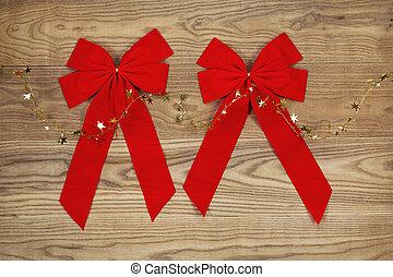 dorado, Arcos, madera, estrellas, descolorido, navidad, rojo