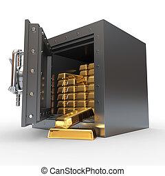 dorado, banco, pila, lingotes, cámara acorazada