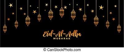 dorado, bandera, decorativo, al, eid, fiesta, adha, islámico