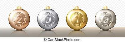 dorado, baratijas, pelotas, eps10, oro, esferas, color, caps., o, sombras, diferente, ilustración, metálico, cuatro, realista, vector, 2019, números, plata, navidad, transparente