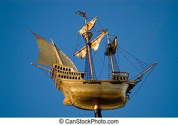 dorado, barco, navegación