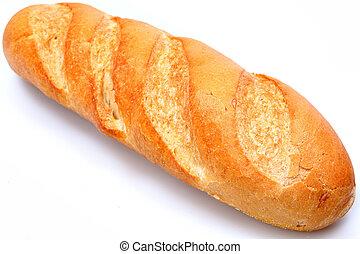 dorado, barra, marrón, baguette, encima, francés, white., ...