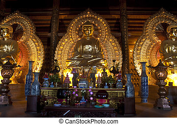 dorado, binh, dinh, vietnam, buddha, imágenes, ninh, templo, bai