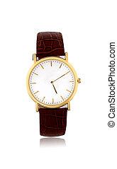 dorado, blanco, relojes, plano de fondo