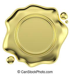 dorado, blanco, sello, aislado, cera