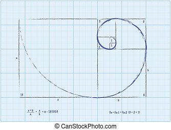 dorado, bosquejo, secuencia, -, espiral, fibonacci