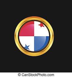 dorado, botón, bandera, panamá