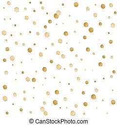 dorado, brillante, patrón, dispersado, seamless, polca,...