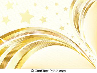 dorado, brillante, vector, plano de fondo