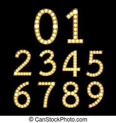dorado, broadway, números, bombilla, luz