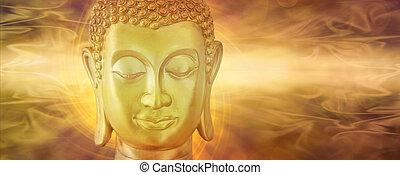dorado, buddha, en, profundo, contemplación