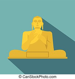 dorado, buddha, icono, plano, estilo