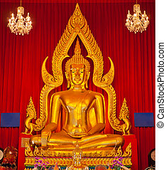 dorado, buddha, templo, estatua, tailandia