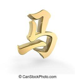 dorado, caballo zodiaco