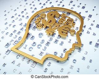 dorado, cabeza, finanzas, símbolo, Plano de fondo,  digital, educación,  concept: